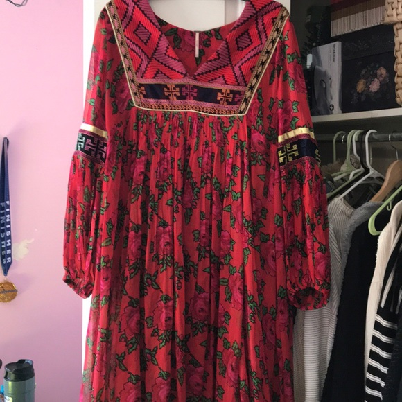 free people bold blooms embroidered dress
